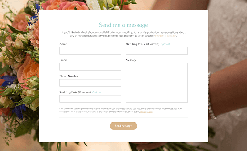 Screenshot of Becky Kerr Photography contact form