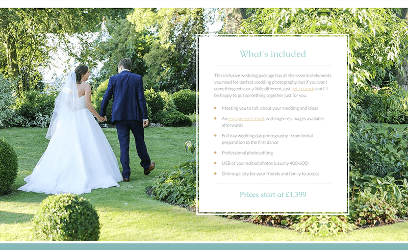 Screenshot of Becky Kerr Photography package information