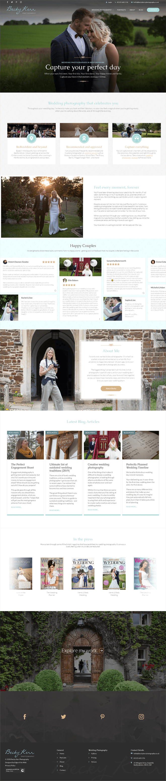 Screenshot of the Becky Kerr Photography homepage