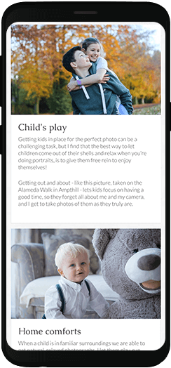 Becky Kerr Photography services information on a mobile device