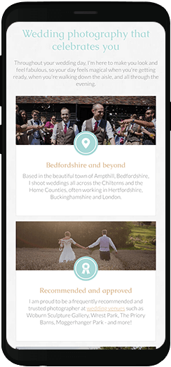 Becky Kerr Photography homepage information on a mobile device