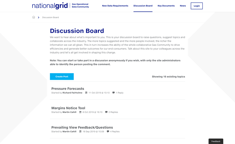 Screenshot of the National Grid Data Community discussion board