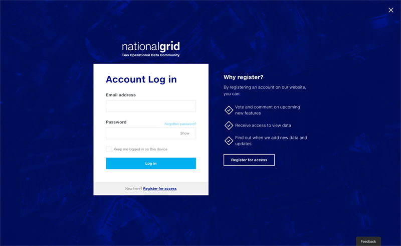 Screenshot of the National Grid Data Community login page
