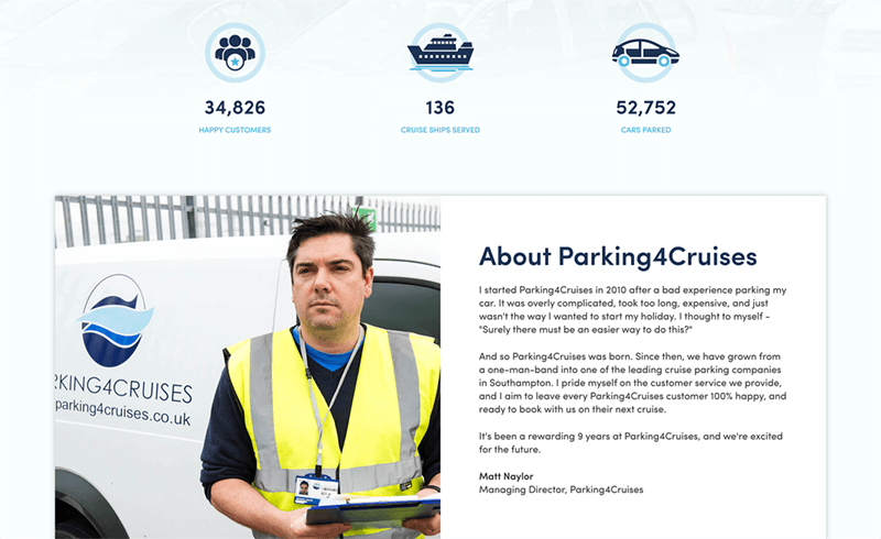Screenshot of the Parking4Cruises about information
