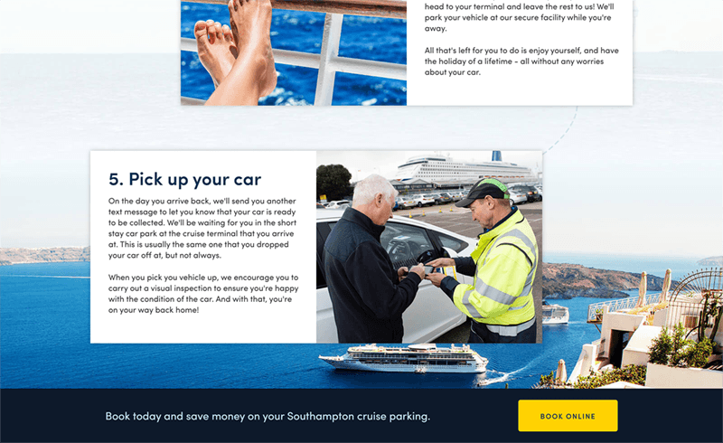Screenshot of the Parking4Cruises service steps