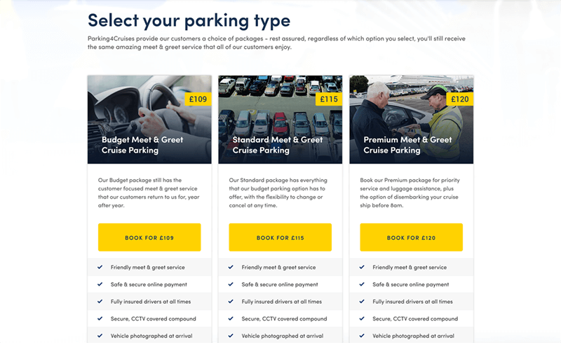 Screenshot of the Parking4Cruises select your parking type