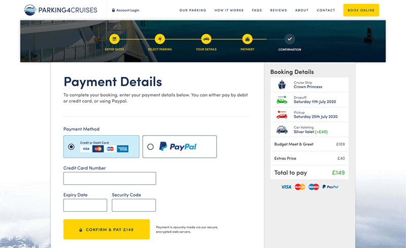 Screenshot of the Parking4Cruises payment details form