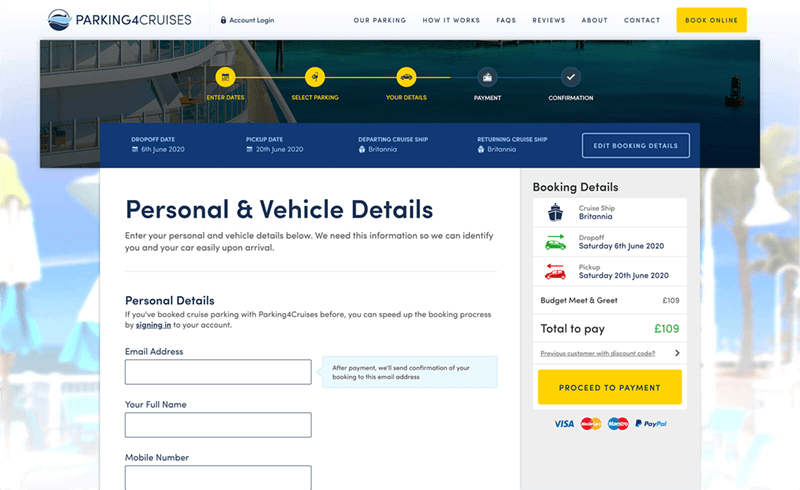 Screenshot of the Parking4Cruises personal and vehicle details form