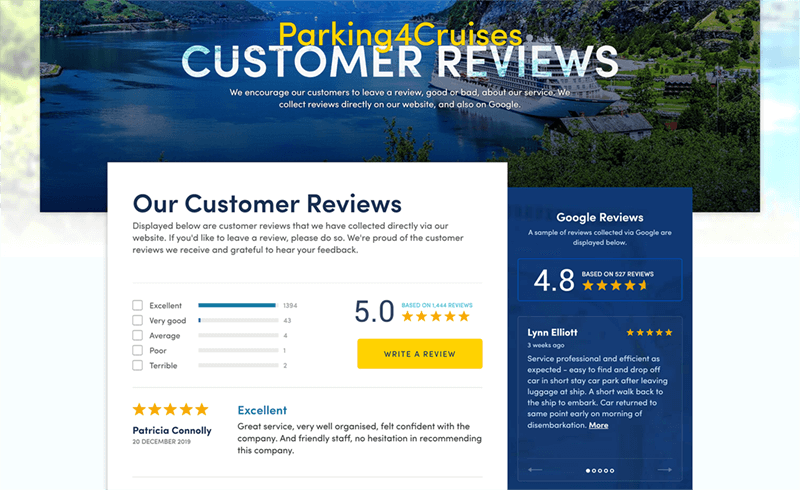 Screenshot of the Parking4Cruises reviews page