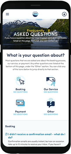 Parking4Cruises faqs on a mobile device