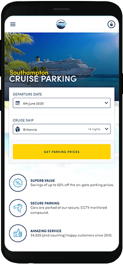 Parking4Cruises homepage on a mobile device
