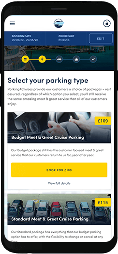 Parking4Cruises select your parking type on a mobile device