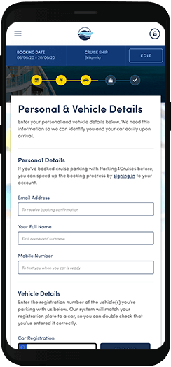 Parking4Cruises personal details form on a mobile device
