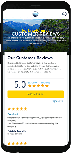 Parking4Cruises reviews on a mobile device